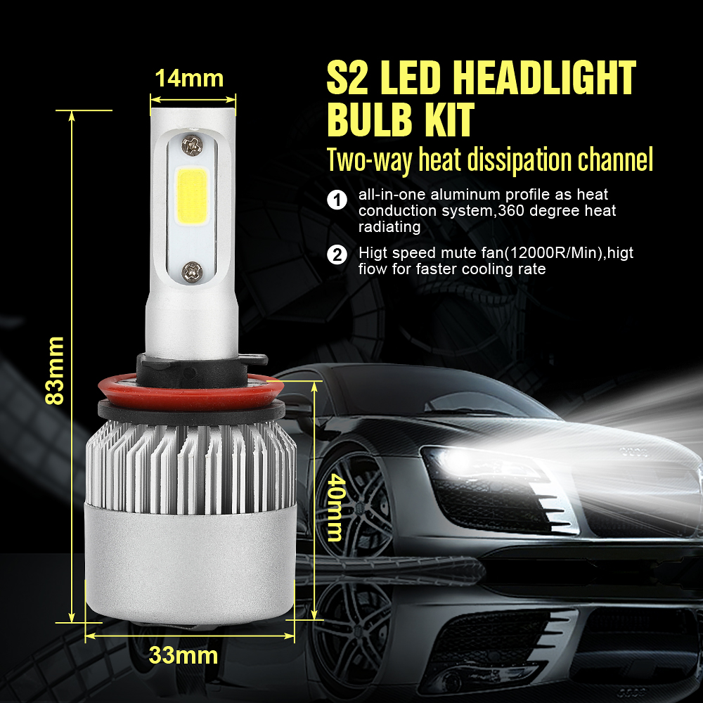 Car <font><b>LED</b></font> Headlight with 3 Sides Lights 10000LM <font><b>Cree</b></font> Lamp <font><b>H1</b></font> H3 H4 H7 H11 H13 H27/880 9004 9005/HB3 9006/HB4 9007/HB5 Waterproof image