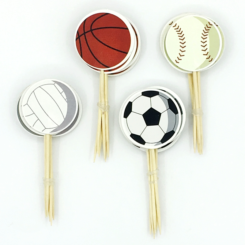 NEW 24pcs Football Sports Games Cupcake Toppers Cake Flag pick Favor Baby Shower kids Birthday Party wedding Decoration Supplies