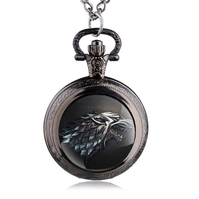 Vintage Game of Thrones Stark Winterfell Wolf Pocket Watch Jewelry