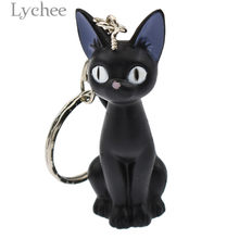 Lychee Trendy PVC Anime Sailor Moon 3D Luna Shape Key Chains Black Cat Lovely Key Chains Jewelry for Girls Women(China)