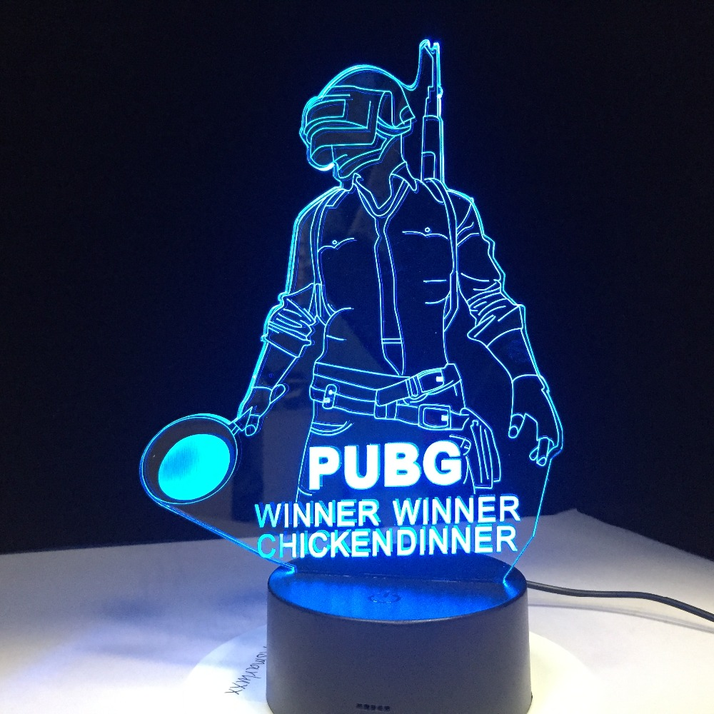 PUBG Winner Winner Chicken Dinner FPS Game Player Unknowns Battlegrounds 3D Lamp 7 Colors Change LED Lamp Cool New Friends GiftPUBG Winner Winner Chicken Dinner FPS Game Player Unknowns Battlegrounds 3D Lamp 7 Colors Change LED Lamp Cool New Friends Gift