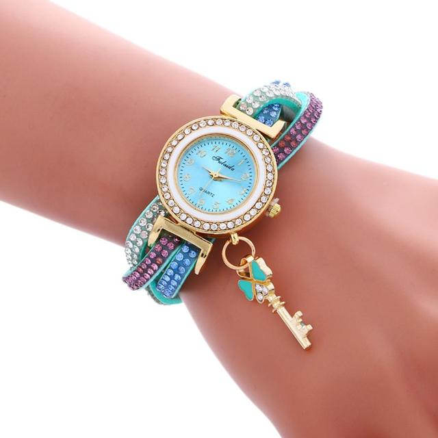 Women Bracelet Watch Wrap Around Fashion Padlock Diamond Lady Womans Wrist Watch