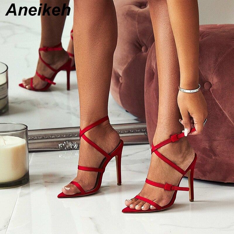 Aneikeh/2018 г.; женские босоножки с узкими ремешками; пикантные летние женские красные свадебные туфли гладиаторы с острым носком на тонком высоком каблуке; Sandalias