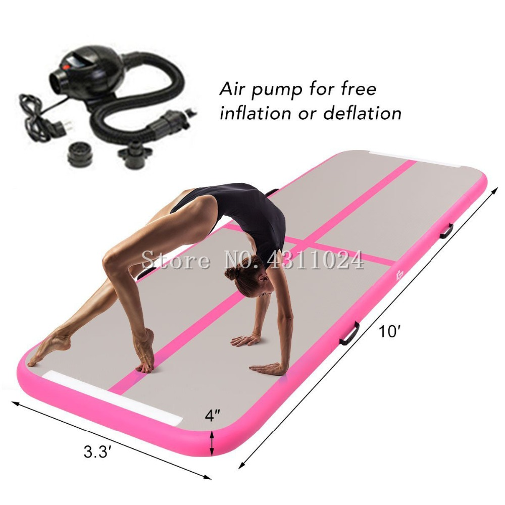 Air Track Tumbling Mat (10' x 3.3' x 4) Air Track Home and Gym Use Airtrack Gymnastics Mat With Free Electric Pump цена