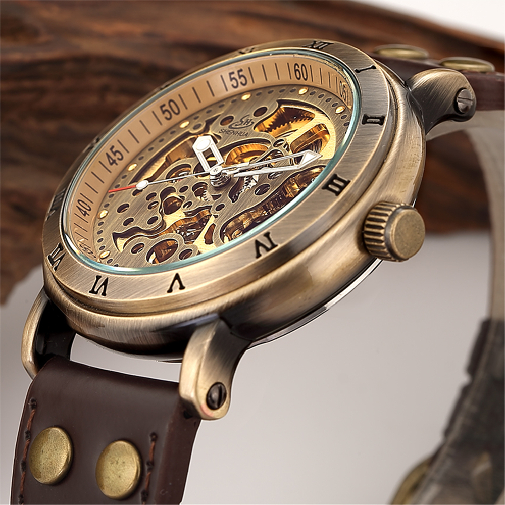 Retro Bronze Skeleton Automatic Watch Men SHENHUA Mechanical Wristwatches Steampunk Power Self Widing Roman Analog Leather Clock retro hollow skeleton automatic mechanical watches men s steampunk bronze leather brand unique self wind mechanical wristwatches