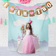 Fashion I AM TWO Baby Boy Girl 2 Years Birthday Party Kraft Paper Banner Bunting Garland