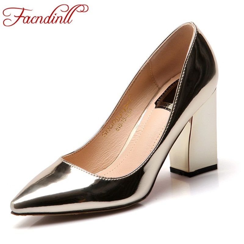 FACNDINLL autumn high heels nude pumps new fashion metal patent leather shoes golden silver party wedding shoes plus size 34- 43 siketu free shipping spring and autumn high heels shoes career sex women shoes wedding shoes patent leather style pumps g017