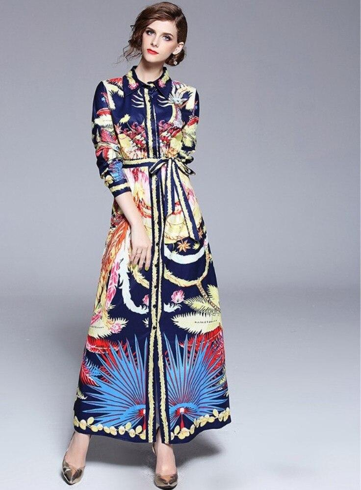 cee24e85aaacd Runway Designer Long Sleeve Maxi Dress Women Floral Peacock Feather Summer  Beach Dress Shirt Dresses Robe Ete 2018 Lange Jurken