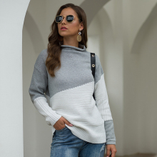 Autumn Turtleneck Sweater Fashion Long Sleeve Stitching Contrast Knit Casual Loose Women