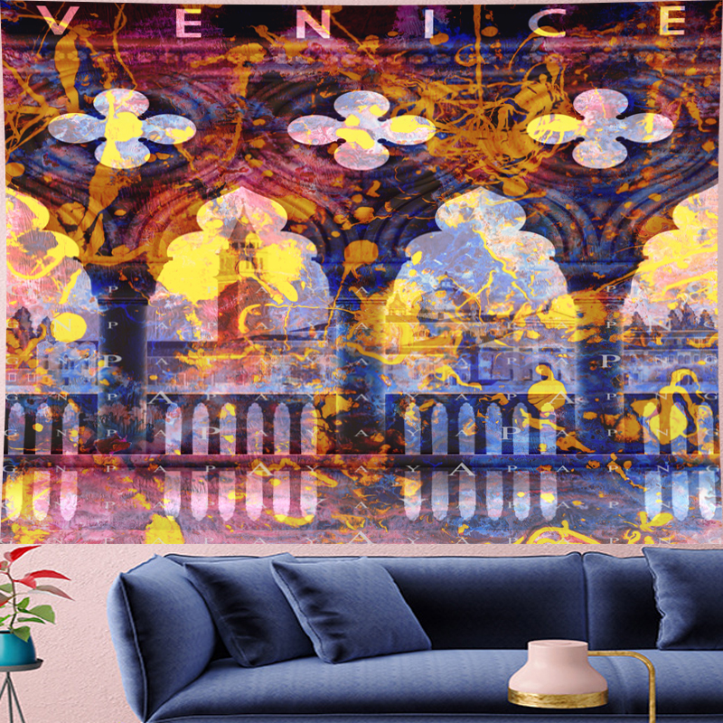 Psychedelic VENICE Mandala Tapestry Vintage Pattern Retro poster building Wall Hanging Bohemian  Home Decor Art carptet new