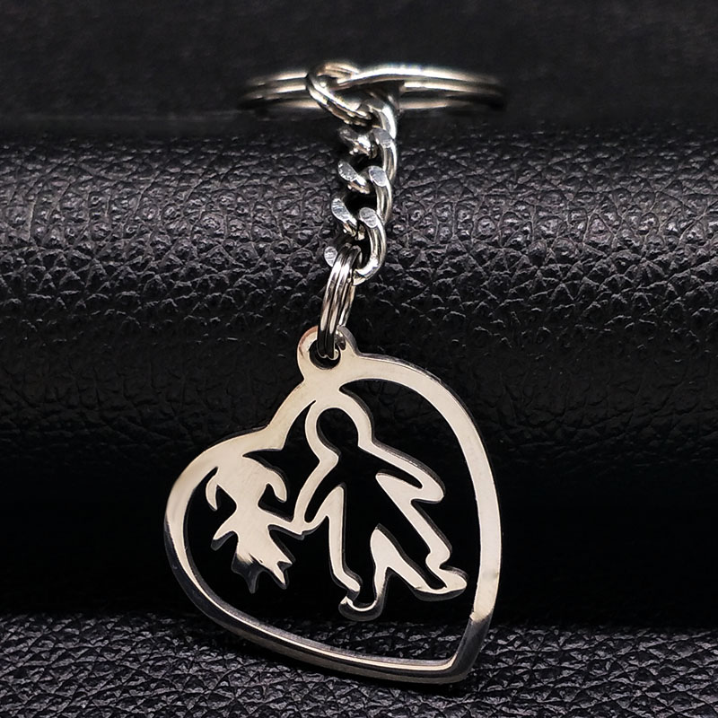 2018 Dad And Daughter Stainless Steel Car Keychain For Dad Heart