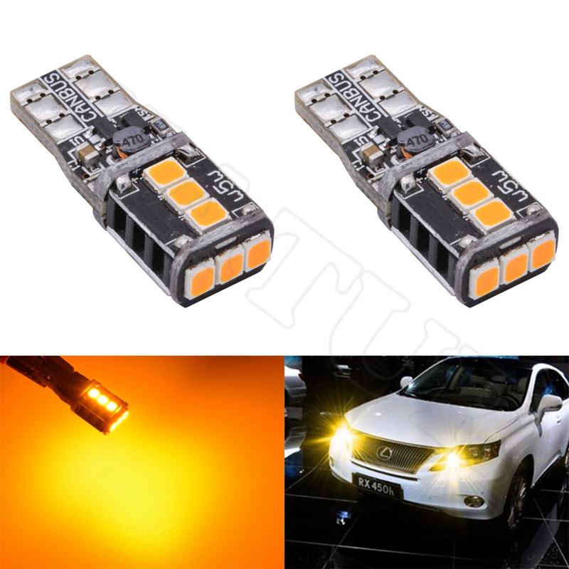 2x Super Bright T10 W5W Led Bulbs For Cars 168 194 Car LED Auto Clearance Door Reading License Plate Lamp Bulb Amber Orange T15 carprie super drop ship new 2 x canbus error free white t10 5 smd 5050 w5w 194 16 interior led bulbs mar713