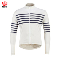 2016 white navy stripe winter thermal fleece team cycling clothes long sleeve cycling jersey road race jacket free shipping
