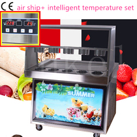 2017 hot sale CE 110v 220v R22 R410 fried ice cream roll machine temperature control double pan ten bucket thai ice pan machine