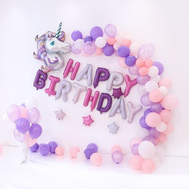 110 Teile/satz Einhorn Luftballons Geburtstag Dekorationen kinder erwachsene 39 inch Rosa Lila Einhorn Party Supplies Photo Kulissen