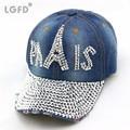 wholesale women paris adjustable rhinestones denim baseball cap snapback hip -hop hat free shippngUSD 7.00 piece 48ad6ffe70c5