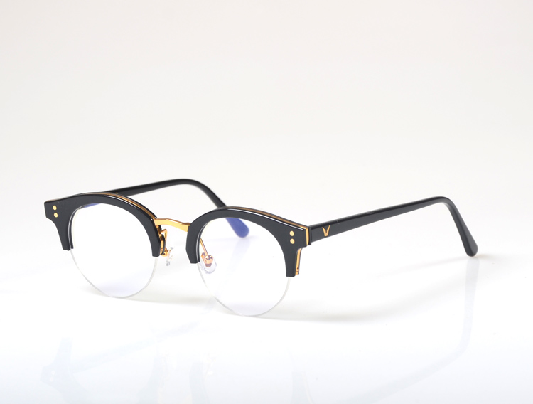 Demi Cadre Lunettes Cadre Rétro Femme Hommes lunettes de lecture protection uv Lentille Claire lunettes d'ordinateur rivets Lunettes oculos