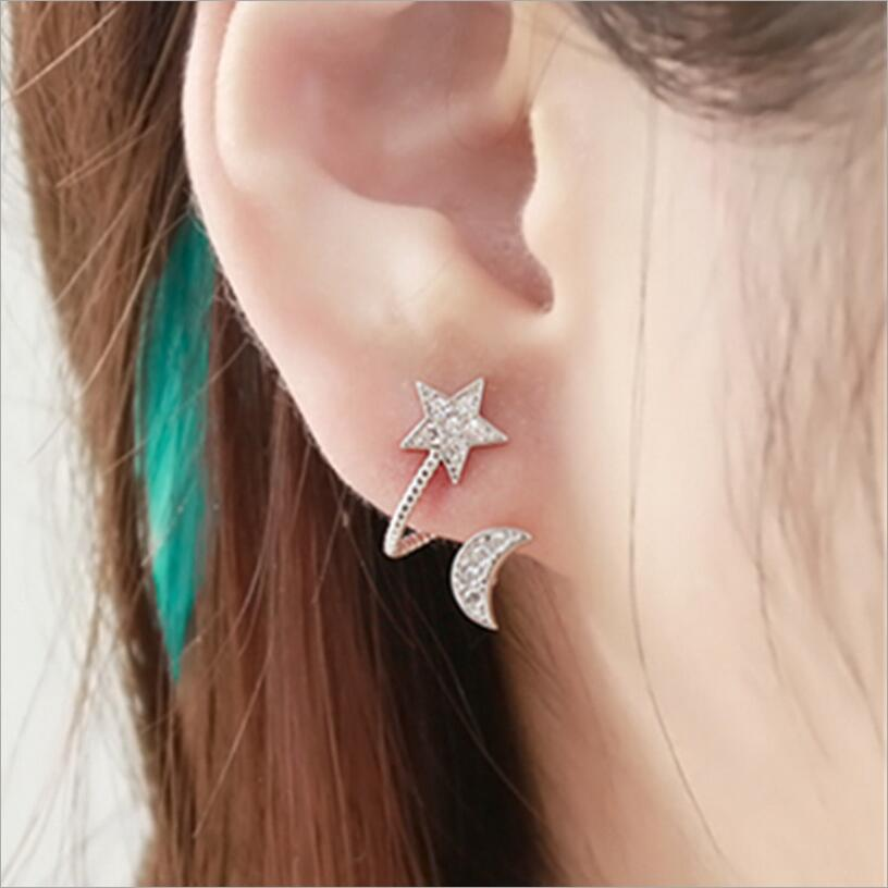 New Hot !! Fashion Fine Jewelry Silver Gold Color Rhinestones Exquisitely Carved Ladies Star Moon Stud Earrings For Women E-571