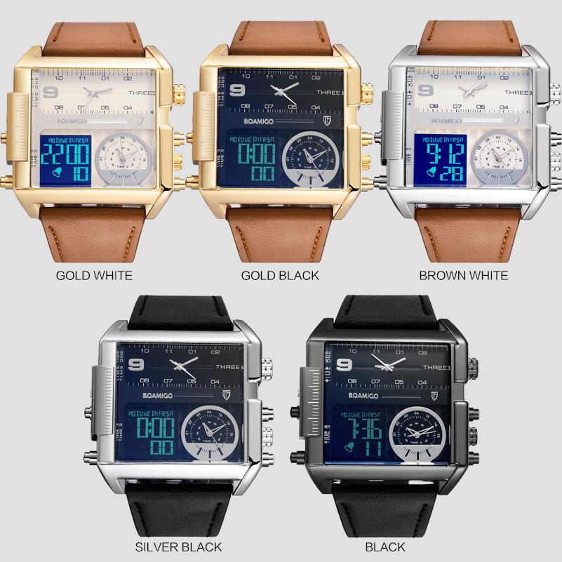 Image 4 - Dropshipping BOAMIGO brand men 3 time zone watch man sport digital watches brown leather military quartz watch relogio masculino-in Quartz Watches from Watches