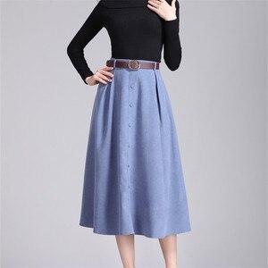 Image 5 - Colorfaith nowy 2018 Suede kobiety długa spódnica trzy czwarte jesień zima panie pasek w stylu vintage przyciski spódnica wysokiej talii Femininas SK6679