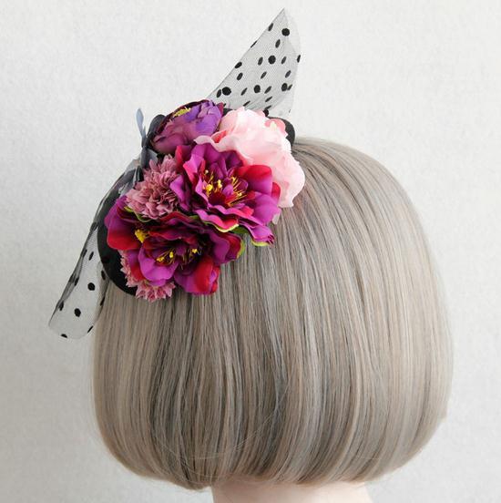 New Woman Lady Flowers Lace Veil Top Hair Clips Bridal Mini Top Hat Clip Lolita Burlesque Fascinator Hair Accessories 2