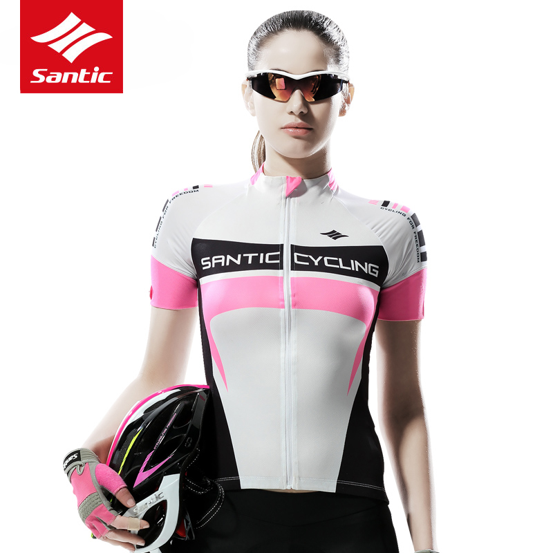 Santic Women Cycling Jersey Summer Short Sleeve MTB Road Bike Jersey Breathable Quick-dry Cycle Bicycle Jersey Maillot Ciclismo