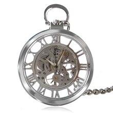 Nueva Llegada de Plata Transparente Esqueleto de Diseño Abierto de la Cara Del Reloj de Bolsillo Mujeres Hombres Reloj De Regalo con 30 cm Cadena P1038C