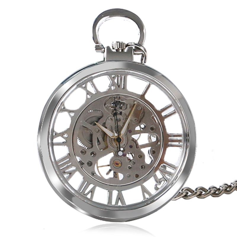 Unique Pocket Watch Transparent Pocket Watches Men Mechanical Hand Wind Steampunk Skeleton Mechanical Fob Pocket Watch