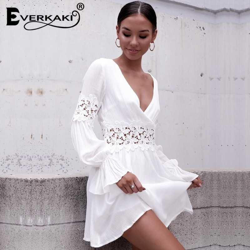 71d516629603 ... Hollow Out White Women Summer Dress Embroidery Lace Floral Casual  Sundresses Deep V Neck Sexy Party ...