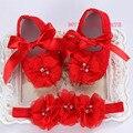 Бутик мокасины ; первые уокер бренд детская обувь девушки повязка на голову комплект ; новорожденный обувь для девочек крещение с жемчугом загрузки