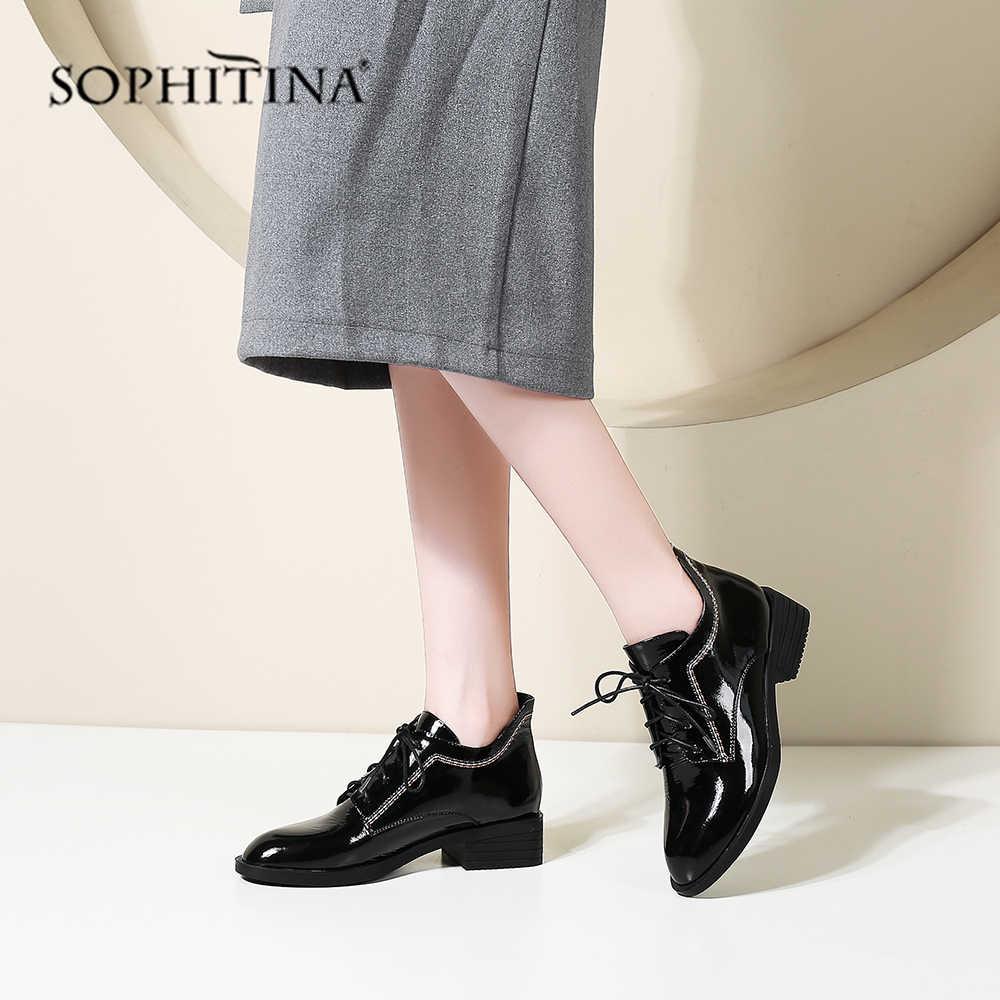 Sophitina Thoải Mái Mới Của Phụ Nữ Giày Mũi Tròn Cao Cấp Bằng Sáng Chế Da Thời Trang Cột Dây Giày Handmade Đặc Biệt Giày PO214