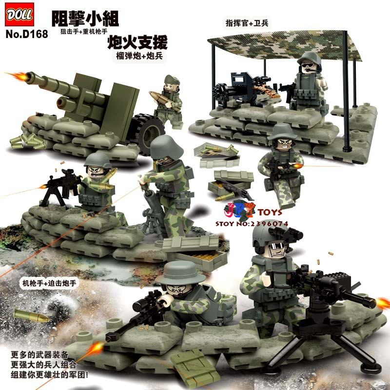 D168 Task Force Jungle Commando Weapon Military Army Camp Model Doll Building Blocks Brick  toys for kids speelgoed gonlei 6 in1 mini task force jungle commando figures weapon building blocks military army camp model bricks toy compatible doll