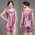 Ropa de noche de seda de manga corta de las mujeres de moda de verano pijama más tamaño sexy de encaje bordado salón camisón