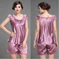 fashion summer silk sleepwear short-sleeve women pajama sets plus size sexy embroidered lace lounge nightgown