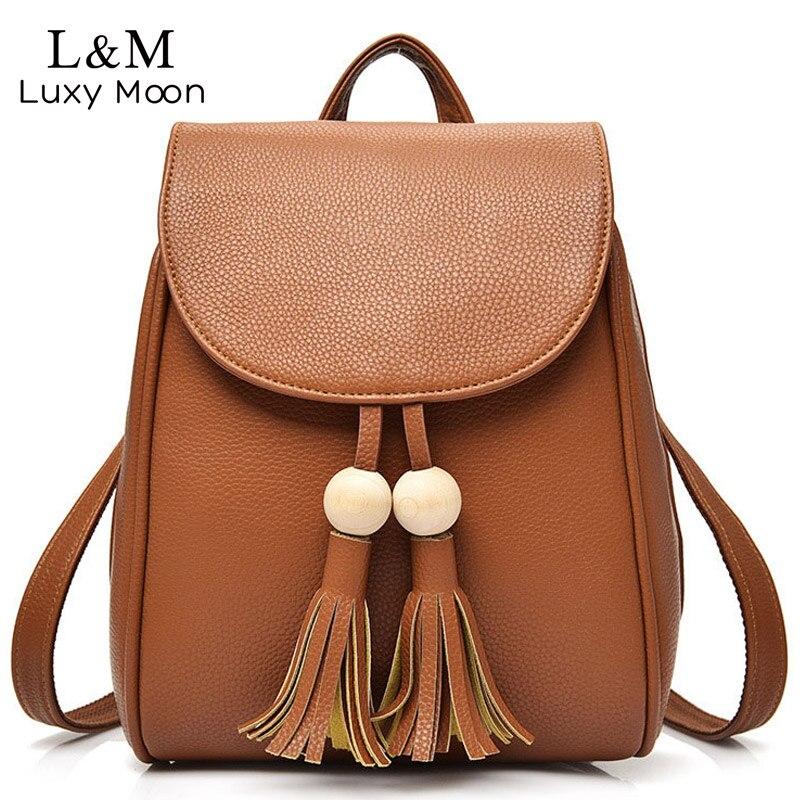 Women PU Leather Backpack Brown Tassel Backpacks Teenage Girls Vintage Shoulder Bags Casual School Bag Black Rucksack XA175H