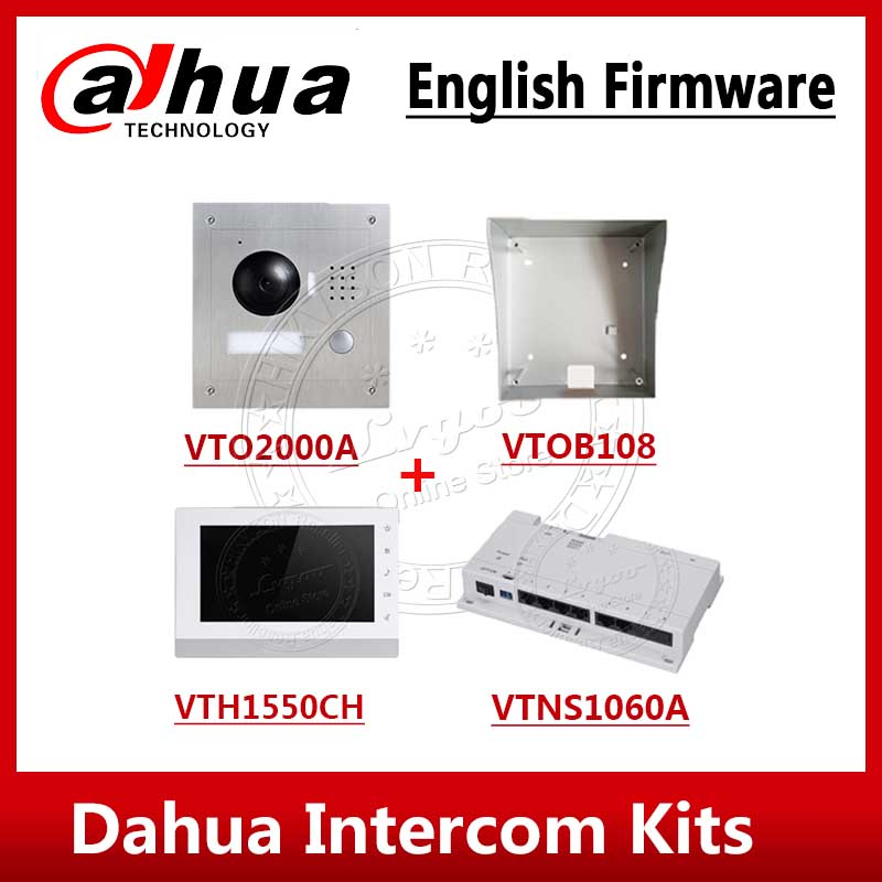 Dahua Video Intercom Kits VTO2000A VTH1550CH VTNS1060A VTOB108 7 Inch IP Video Intercom System With Logo English Firmware
