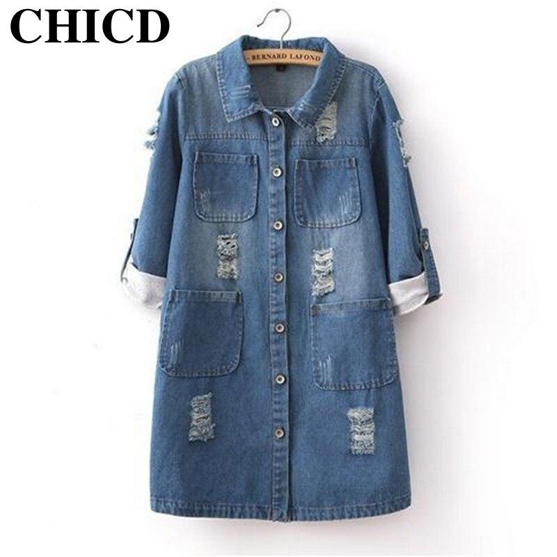 CHICD New Arrival 2017 Winter Plus Size Women Denim Jacket Cotton <font><b>Jeans</b></font> Coat Casacos Femininos Ladies Long Denim Coats XC12