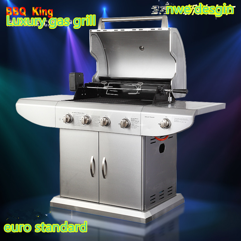 Luxury gas bbq grill gas stove outdoor all stainless steel gas bbq grill four burners side - All stainless steel grill ...