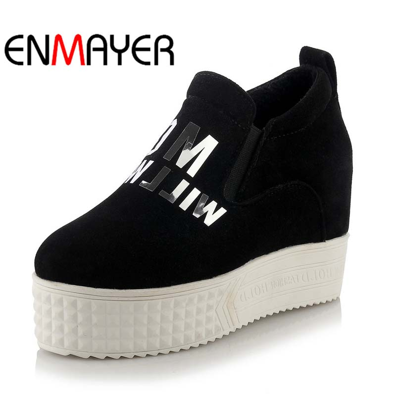 ENMAYER New Girl Black white gray red Round Toe Platform Shoes Plus Size34 43 Wedges High Spring Autumn  Leisure Women Pumps enmayer leisure bow platform shoes new fashion spring autumn women pumps shoes platform pumps big size 34 43 beige yellow