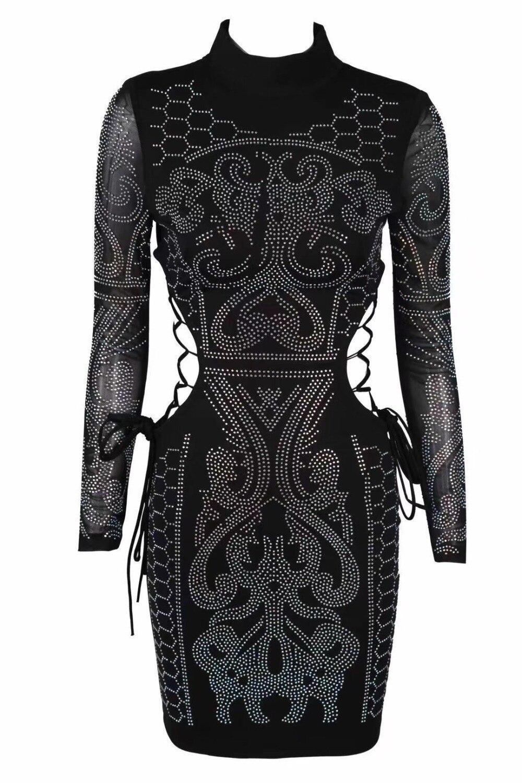 Celebrity Diamant Mode Noir Ornement Col Nouvelle Gros Roulé 2019 Party Mini Manches Clubwears Élégante Longues Sexy En Robe 6byf7g