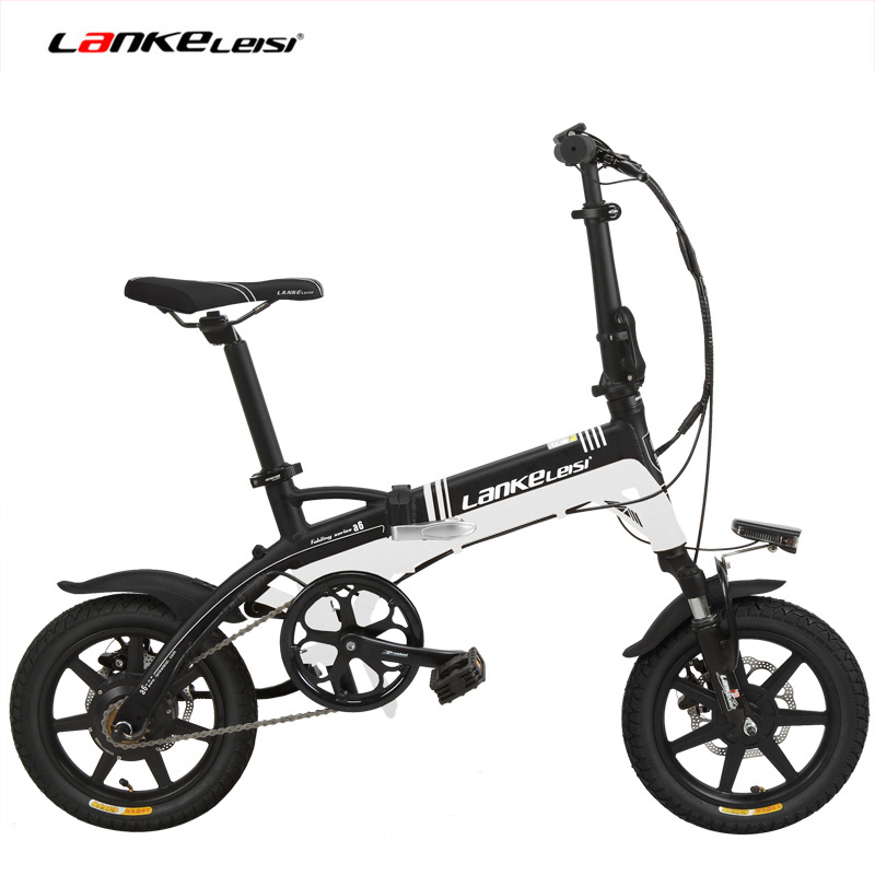 36V 8.7Ah Hidden Battery Ebike, Portable 14 Inches Folding Electric Bicycle, Integrated Wheel, 5 Grade Assist, Disc Brake
