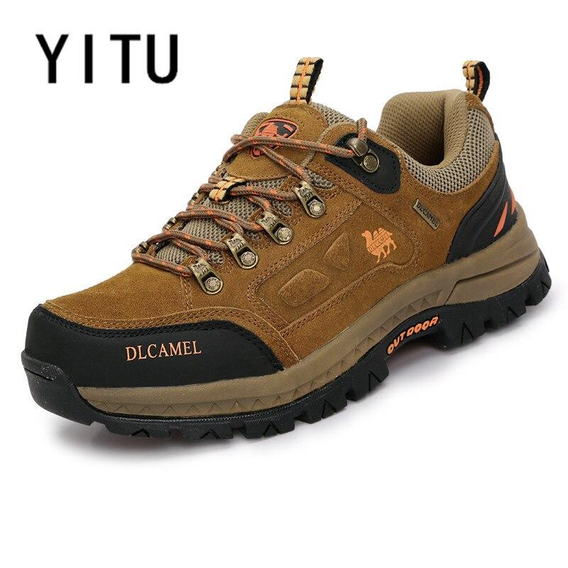 YITU hommes D'hiver Sneakers Imperméable Respirant Randonnée Chaussures de Montagne En Plein Air Escalade Trekking Bottes Cheville Chameau Chaussures de Chasse