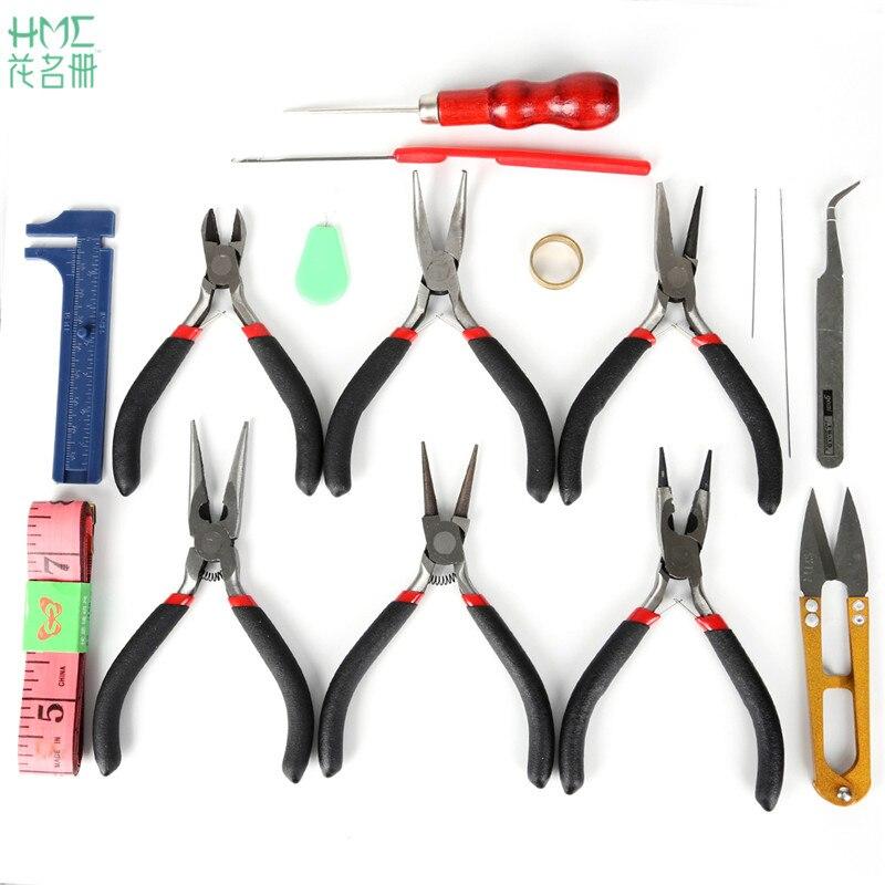 Envío gratuito 13-16 unids/set herramientas de joyería de acero inoxidable con cuentas y agujas para engarzar tijeras alicates