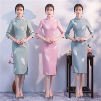 Autumn Winter Female Woolen Long Cheongsam Traditional Handmade Button Chinese Dress Vintage Stage Show Slim Qipao M XXXL