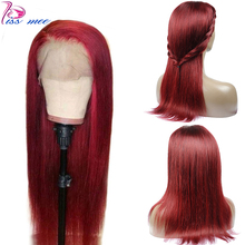 Kiss Mee 99J Burgundy Red Human Hair Lace Front Wig Long Straight Frontal Pre Plucked Peruvian 13*4 Closure Remy Wigs