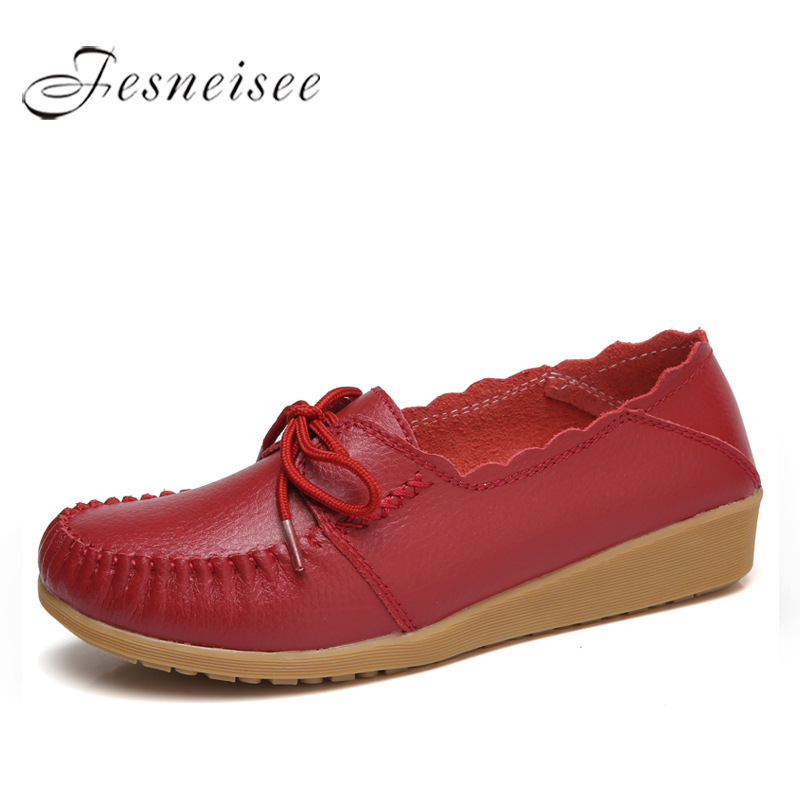 Fashion Women Flats Genuine Leather Casual Loafers Shoes Women Shoes Summer Autumn Shoes Flats with Lace-up Size 44 M2.0Y 2017 fashion genuine leather casual loafers shoes women sandals summer shoes flats with hollow out size 35 44