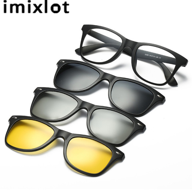 91a7852b4d4 IMIXLOT Polarized Clip On Sunglasses Men Driving Night Vision Lens Sun Glasses  Male Anti-UVA