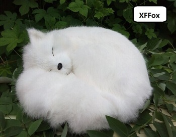 big real life white fox model plastic&furs simulation sleeping fox doll gift about 27x12x27cm xf1789