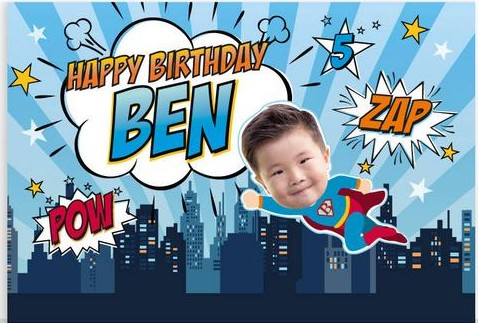 custom super hero birthday city skyline theme background High quality Computer print party backdrop