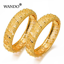 WANDO 2pcs/lot Jewelry Dubai Ethiopian Luxury Design Gold Color Heart Pattern Cuff Women Wide Bracelet & Bangle Wedding Giftb154(China)